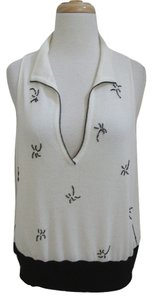 Krizia Beaded Palm Tree Sleeveless Slash Neck Fine Knit Sweater