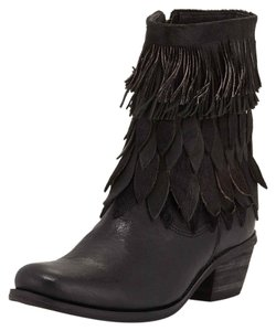 Sheridan Mia Boot Pony Hair Fringe Leather Black Boots
