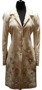 Biya 3/4 Coat Embroidered Linen Coat Cream/Taupe/Blue Jacket