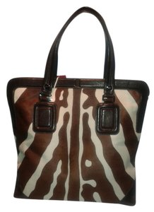 Roger Vivier Calfhair Leather Handles Tote in Zebra print cream & chocolate
