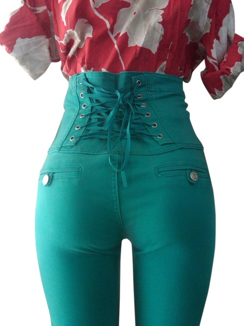 Item - Green Sage Sea Green New High Waisted Corset Stretch Denim. (Sz5) Skinny Jeans Size 28 (4, S)