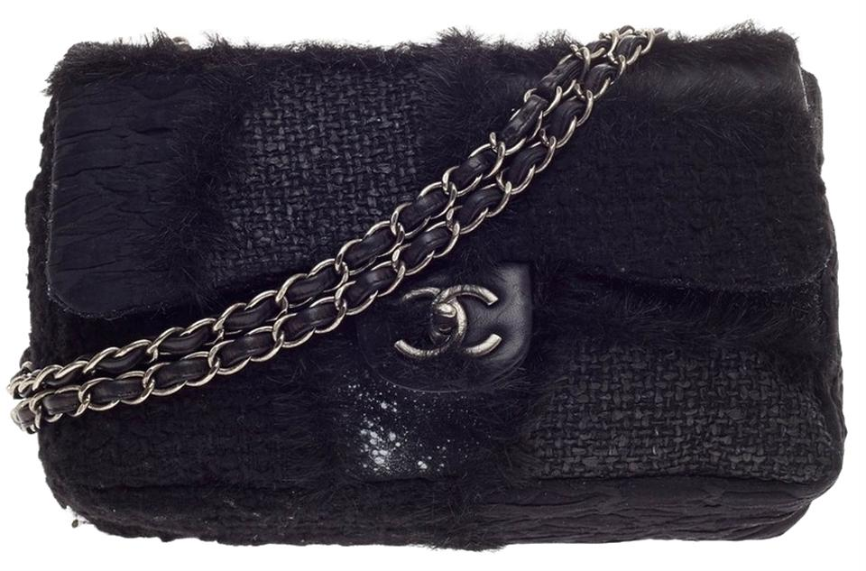 9938b9b75d91 Chanel Classic Flap Patchwork Jumbo Black Tweed and Fur Shoulder Bag ...