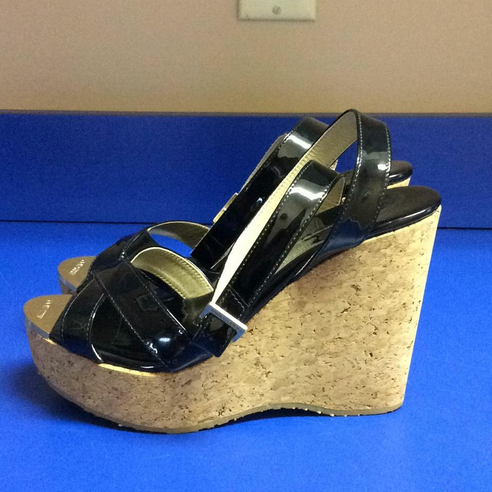 Jimmy Choo Black Patent Leather Wedges on Sale, 55% Off ...