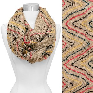 Other Multi Color Zigzag Woven Knit Loop/Infinity Scarf