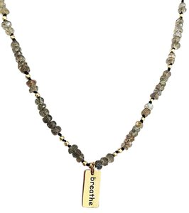 Independent Clothing Co. Labradorite and Multigemstone Necklace with Breathe Charm