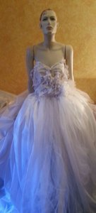 White & Chapagne Strapless Waterfall 3d Lace Taffeta Bridal Wedding Ball Gown Wedding Dress