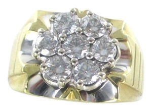 10KT YELLOW GOLD RING 8.2 GRAMS 7 GENUINE DIAMONDS 1.50 CARAT SZ 10.5 FINE JEWEL