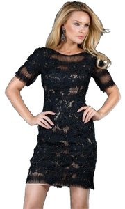 Jovani Short Sleeves Black Lace Embroidered Dress