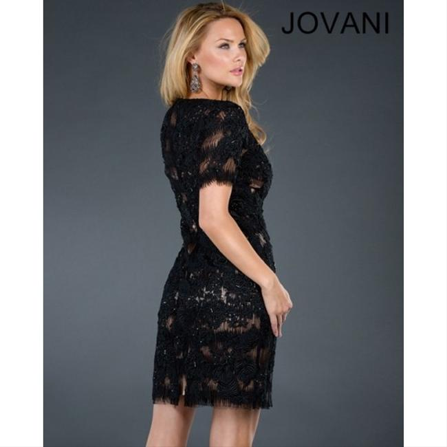 Jovani Short Sleeves Embroidered Dress