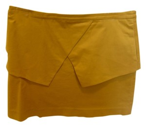 Tibi Peplum Mini Skirt Mustard Yellow