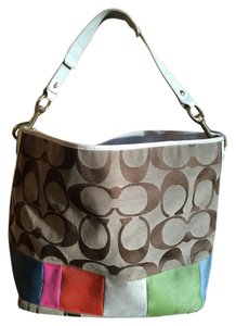 Coach Gold Hardware Pink Interior Multi Color Satchel in Brown/military-stripe