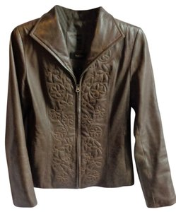 Leather Embroidered Brown Leather Jacket
