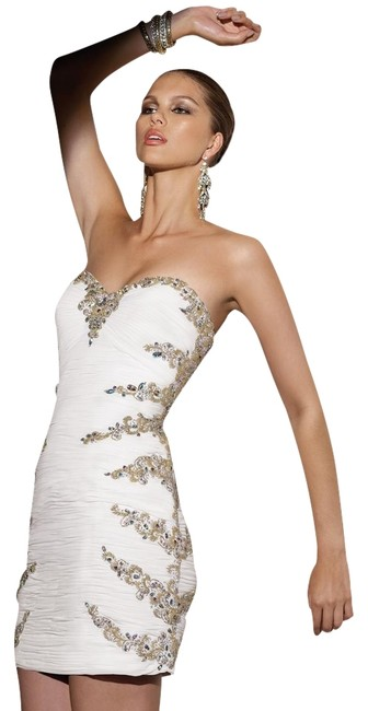 Alyce Designs Cocktail White Strapless Beaded Sweetheart Dress