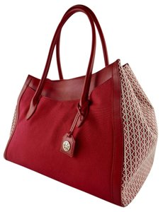Tory Burch Canvas Red Large Leather Tote in Kir Royale (Red)