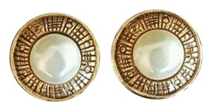 Chanel CHANEL Earrings CC Clip On Gold Pearl SALE!!!