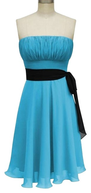 Blue Strapless Chiffon Pleated W/ Removable Black Sash Size:med Short Formal Dress Size 8 (M) Blue Strapless Chiffon Pleated W/ Removable Black Sash Size:med Short Formal Dress Size 8 (M) Image 1