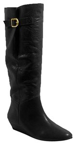 Steve Madden Leather Wedge Black Boots
