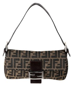 Fendi Zucca Print Canvas/leather Shoulder Bag