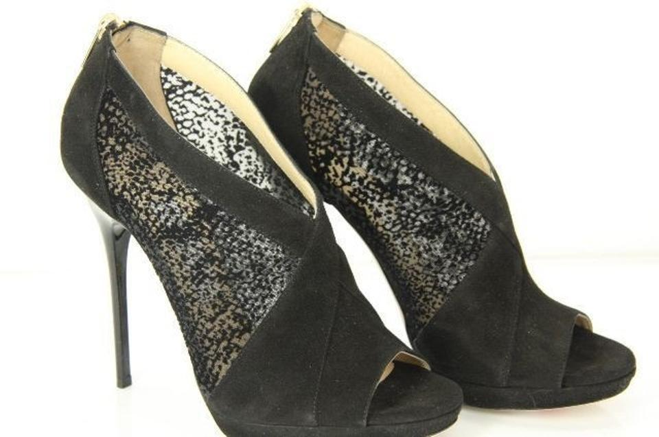 e272a7f46c3 Jimmy Choo Black Mesh Suede Vivid Open Toe High Heel Ankle Boots Booties  Size EU 38.5 (Approx. US 8.5) Regular (M