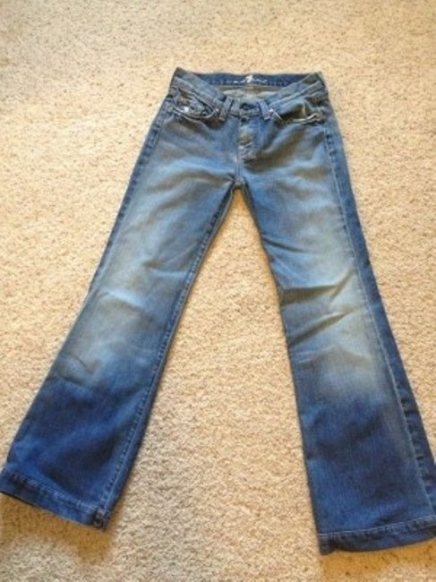 7 For All Mankind Dojos Larger Cuff At End. And Stylish. Trouser/Wide Leg Jeans-Light Wash