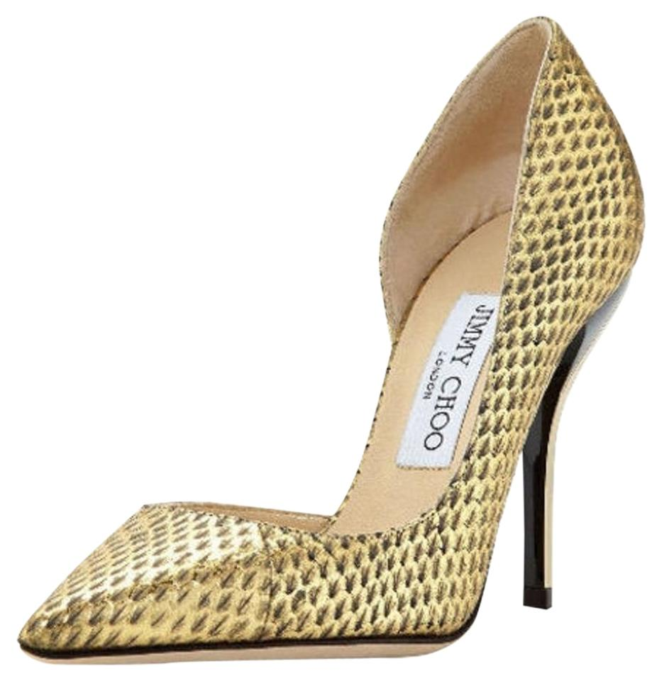 74dc51208595 Jimmy Choo Gold Metallic Snake Leather Willis Half D orsay Pointy Toe Pumps.  Size  EU 38.5 ...