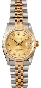 Rolex Rolex MidSize Datejust Two-Tone Diamond Dial Watch 68273