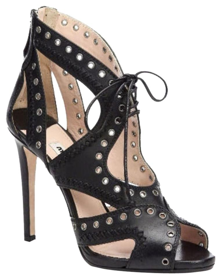 7009a0c99366 Miu Miu Black Leather Cut Out Grommet Strappy Lace Tie Up Front ...