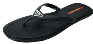New Prada Sport Navy Crosshatch Rubber Flip Flops Thong Men's Rubber Logo SZ 8