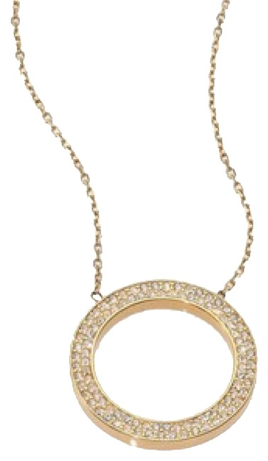 Item - Gold White Clear Circle Necklace