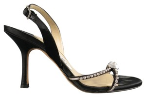 Jimmy Choo Crystal Embellished Strappy Black Sandals