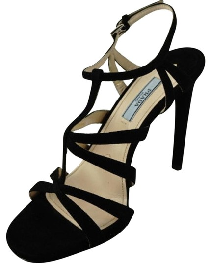 ded5cbd88b921f Prada Black Suede Leather Classic Ankle Strappy High Heel Caged Sandals