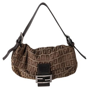 Fendi Vintage Sig Monogram Canvas/leather Silvertone Hardware Shoulder Bag