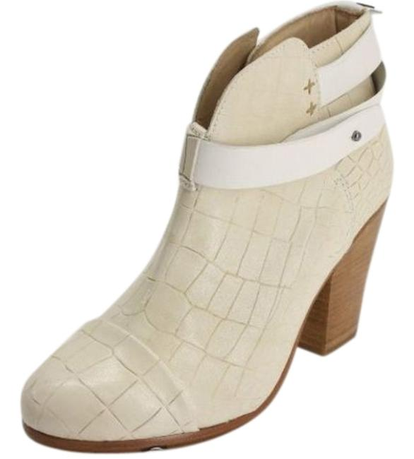 Item - White Ivory Croc Leather Harrow Ankle Block Boots/Booties Size EU 36.5 (Approx. US 6.5) Regular (M, B)