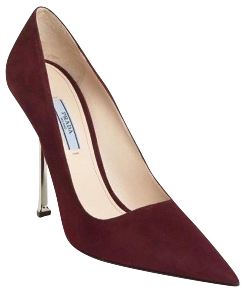 584443732129 Prada Purple Burgundy Suede Pointed Toe Metal High Heel Pumps Size ...