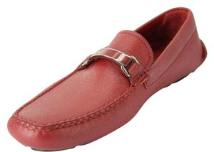 Prada Red Saffianon leather driving loafers size 7.5 US Mens Moccasin shoes $650