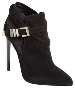 Saint Laurent High Heels Silver Buckle Pointed Toe Black Boots