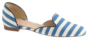 J.Crew Loafers D'orsay Cleo D'orsay Striped Pinstripe Blue and White Flats