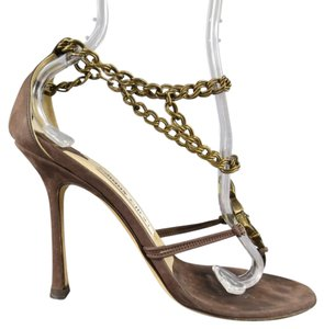 Jimmy Choo Suede Brass Jewels Brown Sandals