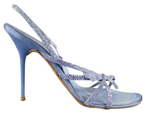 Rene Caovilla Swarovsky Strappy Embellished Periwinkle Purple Sandals