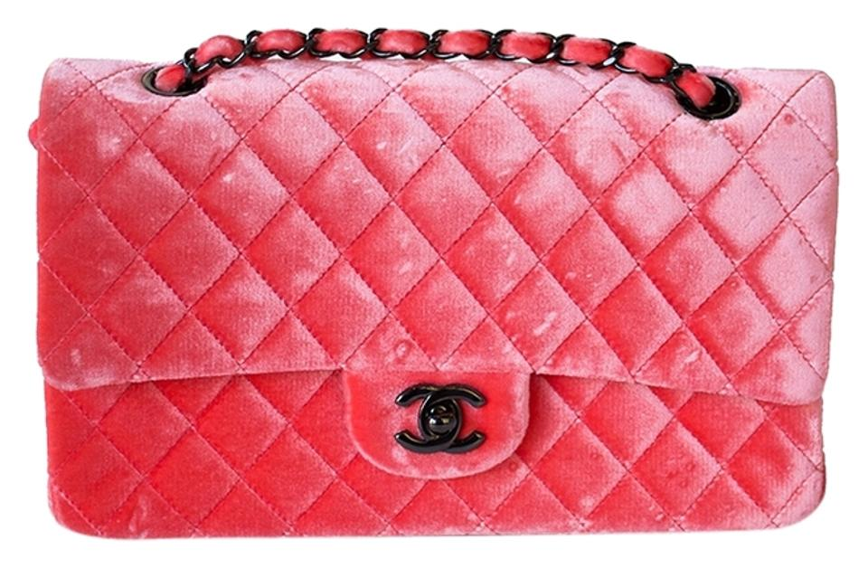 1391bebae155 Chanel Double Flap Quilted Velour Medium Classic Coral Pink Velvet ...