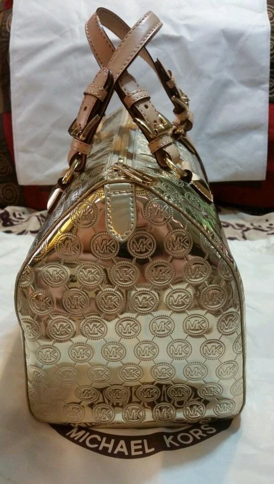 caeda2fb11a1 Michael Kors Large Grayson Pale Mirror Satchel Gold Metallic Canvas Tote -  Tradesy