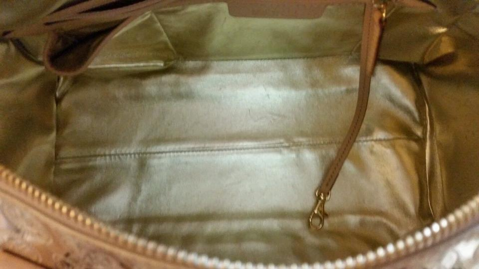 347fc0dcf520 Michael Kors Large Grayson Pale Mirror Satchel Gold Metallic Canvas ...