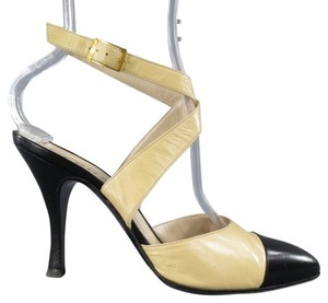Chanel Black Strappy Stiletto Cream Pumps