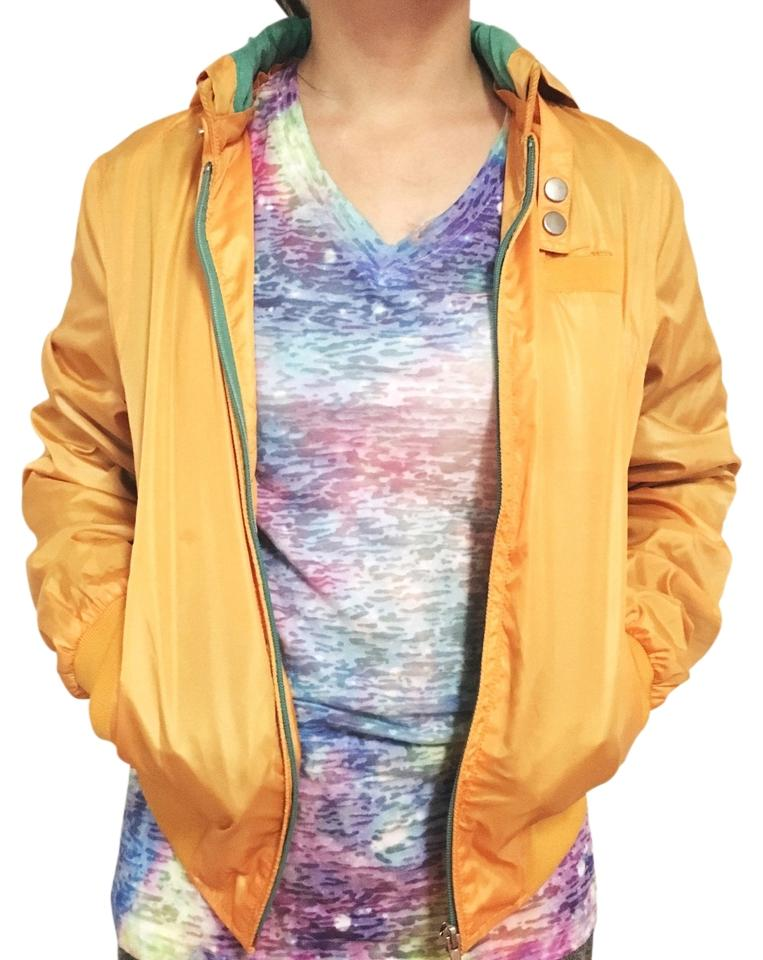 f68ae6f5474 Love Tree Mustard Yellow Star Sequined Windbreaker Bomber Hooded ...