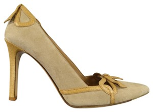 Valentino Suede Bow Trim Autumn Beige Pumps