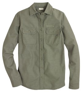 J.Crew Cotton Long Sleeves Chest Pockets Machine Wash Button Down Shirt olive green