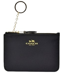 Coach COACH Leather Business card Case holder Key pouch chain coins purse black