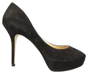 Jimmy Choo Suede Platform Autumn Round Toe Black Pumps