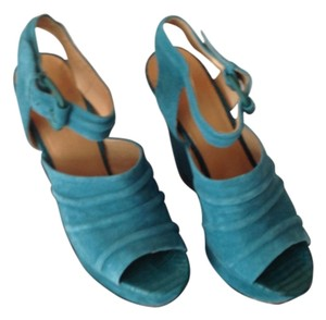 L.A.M.B. Teal Suede Wedges