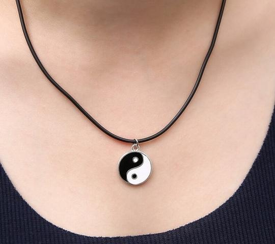 Preload https://item1.tradesy.com/images/black-and-white-silver-and-yin-ying-yang-pendant-charm-leather-ette-necklace-1347755-0-1.jpg?width=440&height=440